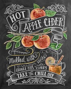 Fall Apple Cider Recipe Illustration Print Autumn by LilyandVal