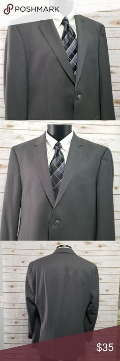 Calvin Klein Sport Suit Jacket Blazer Gray 44R In Good Pre-Owned Condition Calvin Klein Gray Sport Coat, Suit Jacket Blazer 44R 100% Wool 3 Interior Pockets Dual Rear Vents Armpit to Armpit Front only: 22 7/8 Waist (left to right front)  21 7/8 Arm Legnth:  24 1/4 Shoulder to Shoulder:  19 3/8 Bottom Collar to Hem:  30  B-001-29 Calvin Klein Suits & Blazers Sport Coats & Blazers
