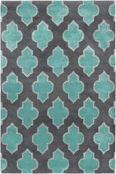 Turquoise and Grey Quatrefoil Rug - customer favorite rug
