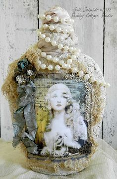 Art Bottle  Lace and Pearls Romance by shabbycottagestudio on Etsy, $25.00