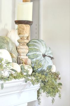 Here are 101 (more really) inspiring fall decorating ideas! Lots of tips, ideas, pretty autumn pictures and sources to help you decorate this fall! Fall Home Decor, Autumn Home, Autumn Fall, Autumn Decorating, Decorating With White Pumpkins, Fall Arrangements, Fall Mantel Decorations, Harvest Decorations, House Decorations