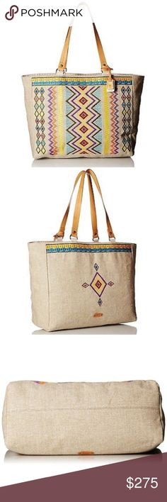 "Frye natural linen tote, south western print There's nothing like a bold, colorful design to brighten up everyday life. Made of natural linen accented with Italian leather straps, this global-inspired bag is roomy enough for an overnight trip to the beach and interesting enough to tote about town.  Linen Imported 100% Man Made Materials lining No Closure closure 11"" shoulder drop 13"" high 20"" wide Dust bag included Frye Bags Totes"