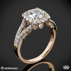 18k Rose Gold Verragio Split Shank Shared-Prong Diamond Engagement Ring from the Verragio Insignia Collection. PIN it to WIN it!