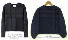 inspiration and realisation: DIY fashion blog: DIY sweatshirt refashion - trompe l'oeil plaid