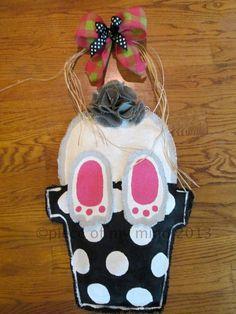 Burlap Door Hanger  Bunny in Flower Pot by nursejeanneg on Etsy, $36.00