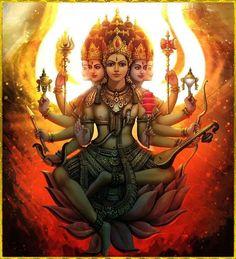 Gayatri Devi the Goddess Saraswati Goddess, Shiva Shakti, Goddess Art, Goddess Lakshmi, Gayatri Devi, Gayatri Mantra, Arte Krishna, Indian Goddess, Divine Mother