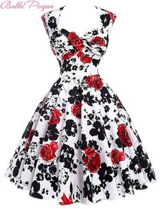 Audrey Hepburn Vestidos Cotton Floral Print Vintage 50s Dresses Women Robe Rockabilly Pin Up Dress BP000024 Alternative Measures - Brides & Bridesmaids - Wedding, Bridal, Prom, Formal Gown