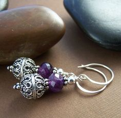 Amy Earrings Balinese Sterling Silver and Amethyst Beaded