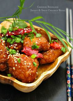 Simple recipe for General Tso's Chicken copycat Chinese sweet & spicy boneless chicken bites