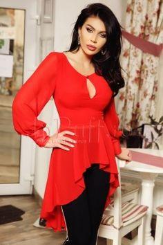 Rochie Xara rosie cu imprimeu multicolor Bell Sleeves, Bell Sleeve Top, Peplum, Long Sleeve, Casual, Women, Fashion, Moda, Long Dress Patterns