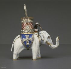 Insignia of the Order of the Elephant, 19th century, This pendant in white enameled gold is the insignia of the Danish Order of the Elephant. Founded in 1478 by King Christian I, the order is still in existence today. The elephant is worn on a necklace during its ceremonies.