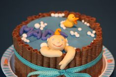Baby in a bath cake.