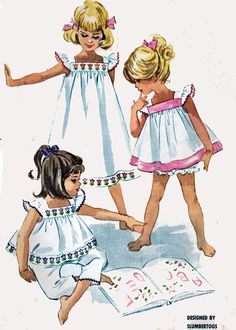 Vintage 60s McCalls 5912 Toddlers Nightgown or Pjs by sandritocat, $16.00