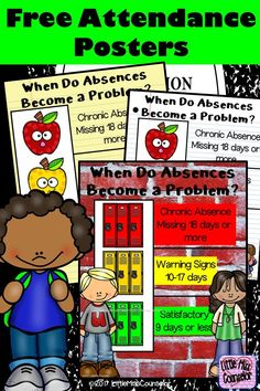 Promote and bring awareness to attendance by displaying these posters throughout your school. Includes 7 posters to illustrate good attendance, warning signs, and chronic attendance. Attendance Incentives, Classroom Attendance, Attendance Board, Student Attendance, Attendance Display, Attendance Ideas, Classroom Posters, School Counseling Office, School Social Work