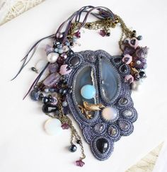 Moonlight Sonata  jewelry set with large agate bead by BijouMaster, $262.00