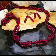"ON SALE NOW at ""Vintage Jewelry Stars"" shop at http://www.rubylane.com/shop/vintagejewelrystars !!  Garnet Woven Bead & Carved Tubes Vintage Necklace & Matching Pierced Earrings"
