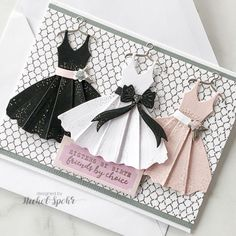 Today I'm sharing 10 cards created with the Spellbinders April 2019 Card Kit of the Month. I love the challenge of creating a set of cards with the amazing Spellbinders Card Kit each month! Cute Cards, Diy Cards, Tarjetas Diy, Dress Card, Spellbinders Cards, Fancy Fold Cards, Folded Cards, Handmade Birthday Cards, Card Kit