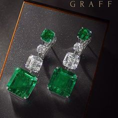 Emerald and diamond pendant earrings 33.74 carats Graff