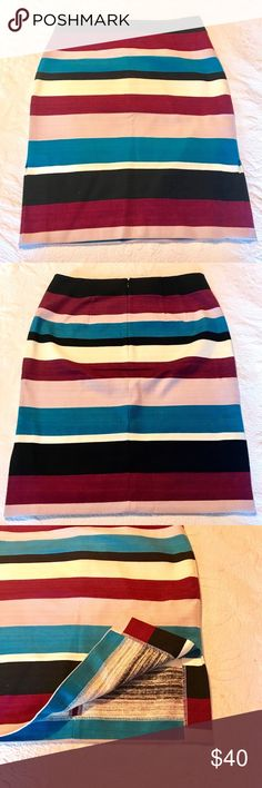 """NWT AT Skirt This skirt is brand new and has never been worn.  Gorgeous stripes in pinks, purples, blues, cream and black.  Size 8.  Can be dressed up or down.  Back zip closure.  Measures 22"""" in length.  Side slots are approx. 7"""".  Soft linen texture which is 97% cotton and 3% spandex. Ann Taylor Skirts Midi"""