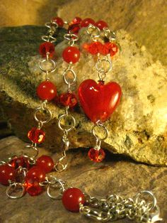 Red Heart Pendant Necklace Long Necklace by TheHiddenMeadow