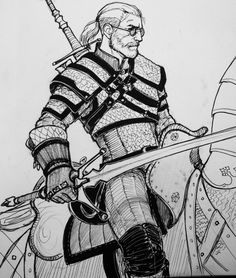 Geralt (and Roach)-ink drawing Witcher 3 Geralt, Witcher 3 Art, The Witcher Game, The Witcher Novels, The Last Wish, Character Art, Character Design, Wild Hunt, White Wolf