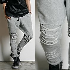 Remember Click Ripped Gray Drawstring Pants GRAY ONE SIZE Korean Wear #RememberClick #CasualPants