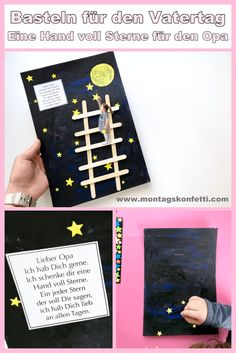 Crafts for Father's Day - a handful of stars for grandpa- Basteln für den Vatertag – Eine Hand voll Sterne für den Opa Craft idea for crafting together and then giving it away to a loved one. No matter whether grandma, grandpa, dad or mom and etc. Kids Crafts, Crafts For Girls, Diy For Kids, Diy Birthday, Birthday Cards, Birthday Gifts, Diy Gifts For Men, Gifts For Dad, Sister Gifts
