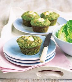 These light and fluffy spinach and goat's cheese muffins are an easy, savoury snack.