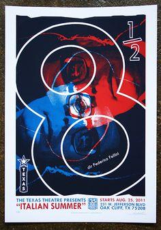 """8 1/2"" (1963, dir. Federico Fellini). Poster for Texas Theatre's ""Italian Summer"" series. Designed by Napkin Art Studios."