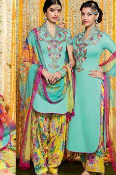 Aqua & MultiColor Cotton Satin Print UnStitch Punjabi Suit