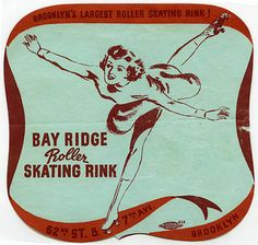 Sticker for Bay Ridge Roller Skating Rink, Street and Avenue, Brooklyn, New York. Roller Skating Rink, Roller Rink, City Roller, Classic Artwork, Vintage Artwork, Roller Skating Pictures, Boogie Wonderland, Roller Derby Girls, Vintage Magazine