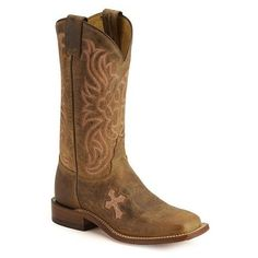 Tony Lama Cross Inlay Cowgirl Boots Square Toe