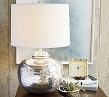 Pierce Bedside Short Round Lamp Base, Antique Silver finish