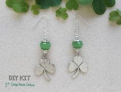"""Clovers accented by jade green faceted crystals.Fun to create these earrings to wear for St.Patrick's day or any other lucky day of the year. Finished size is approx. 2"""""""" long. All components are lead"""