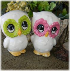 Ceramic Owl Wedding Cake toppers Custom Vintage style   Home Decor Kitchen Fuchsia and Lime Green on Etsy, $24.95