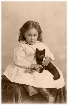19th Century cabinet card of a little girl and her kitten