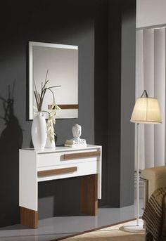 Meuble d'entrée moderne + miroir MASSIMIN, disponible en 2 coloris