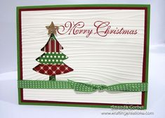 Krafting Kreations: O Christmas Tree!  I like the use of the wood grain embossing folder going horizontally.
