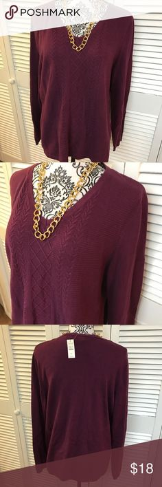 NWT Talbots Sweater Brand new with tags $50 Size Petite xl  Burgundy in color  Light weight sweater  100% cotton Talbots Sweaters