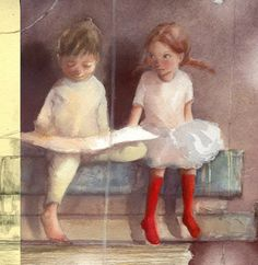 Marina Marcolin, illustration detail.  I love the look on that cute little girl's face.