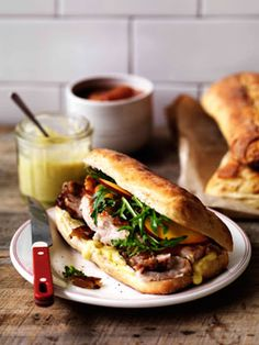 Porchetta, crackling and nectarine relish on ciabatta.
