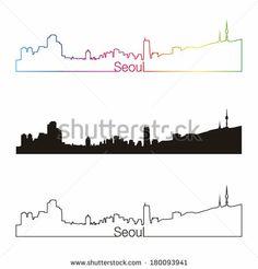 Seoul skyline linear style with rainbow in editable vector file - stock vector