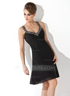 Cocktail Dresses - $96.99 - A-Line/Princess V-neck Knee-Length Chiffon Cocktail Dress With Ruffle Beading Sequins (016008898) http://jjshouse.com/A-Line-Princess-V-Neck-Knee-Length-Chiffon-Cocktail-Dress-With-Ruffle-Beading-Sequins-016008898-g8898