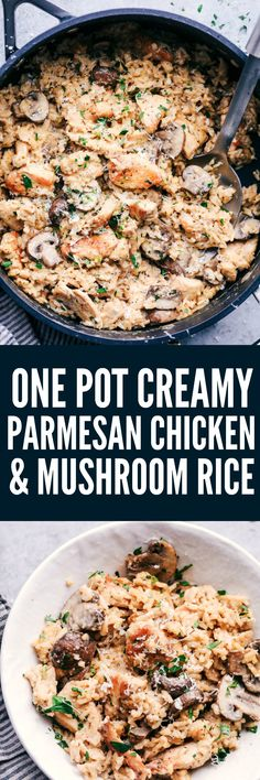 One Pot Creamy Parmesan Chicken with Mushroom Rice will be one of the best things you will ever eat! All you need is one pot to create an amazingly creamy and delicious meal that is ready in under 30 minutes!