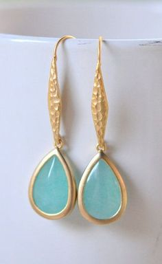 Gold Aqua Drop Earrings. Aqua Hammered Drop