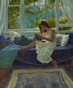 """""""The Last Chapter"""" By David P. Hettinger  A live model in my dream room in front of my dream window in a County English home. Hey I can dream can't I ?   http://davidhettinger.com/"""