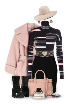 """""""Kenzo Striped Sweater in Black & Pink"""" by franceseattle ❤ liked on Polyvore featuring Carven, Kenzo, L.K.Bennett, Burberry, River Island, Andrea Fohrman, Just Cavalli, Gucci and Hinge"""