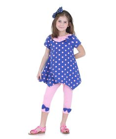 Blue Polka Dot Red Turtle Tunic & Leggings - Toddler & Girls by Dolce Liya #zulily #zulilyfinds