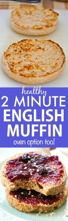 TWO Minute Flourless English Muffin- Perfect toasted and a bread alternative, these crispy, chewy and tender English muffins are completely yeast free and made in a microwave or an oven- There is a grain free option too! {Vegan, gluten free, paleo recipe}- http://thebigmansworld.com