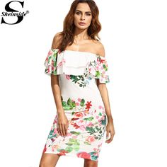 Summer Ladies Multicolor Floral Print Ruffle Off The Shoulder Sheath Half Sleeve Mini Dress